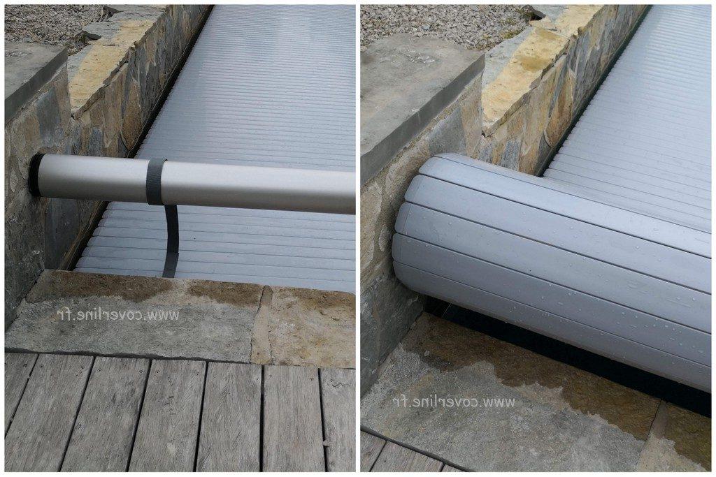 fixation volet roulant sur le mur de la piscine
